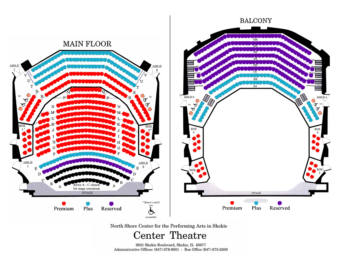 plan your visit chicago philharmonic the seating plan for north shore center for performing arts click here to visit the north shore center for performing arts website for more information